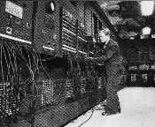 The ENIAC computer, built from 18,000 vacuum tubes, was the first all purpose electronic digital computer
